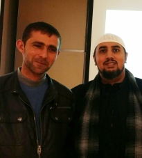 With Palestinian farmer Mohammad Irsheid, London Muslim Centre with Made In Europe